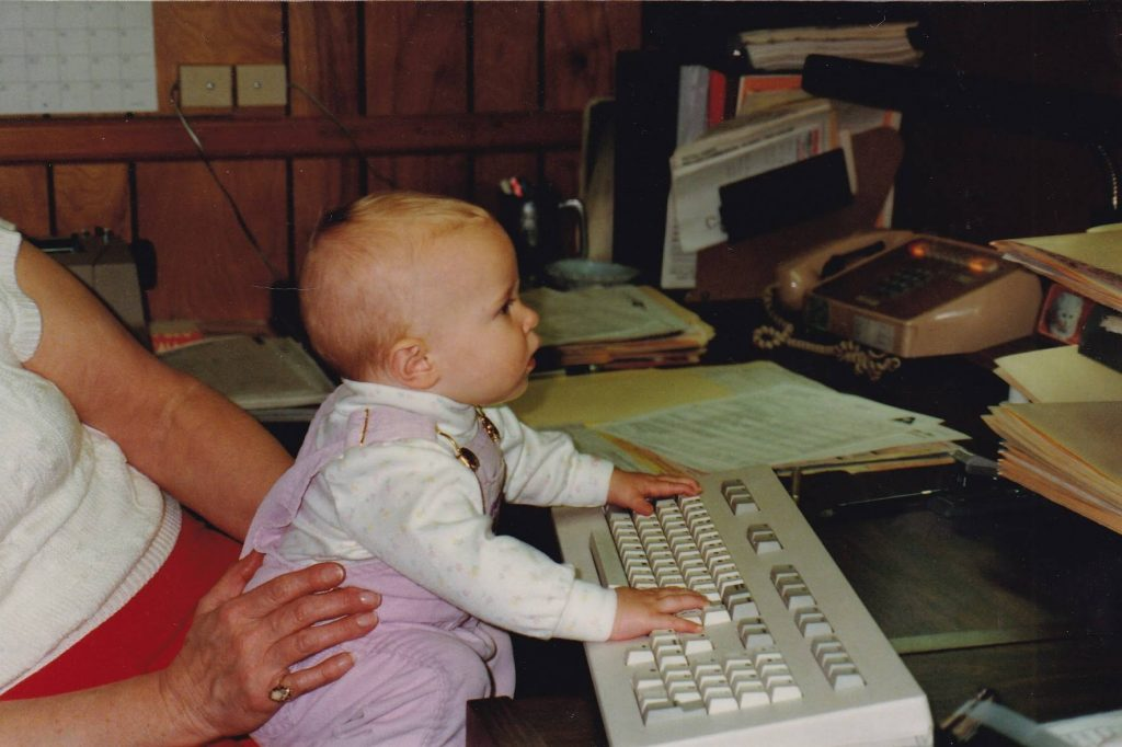 Baby Heather at the computer in 1987